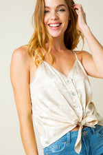 THE ONE SATIN FLORAL CAMI CREAM