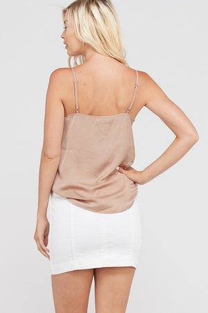 ALL MINE LACE TRIM CAMI TAUPE