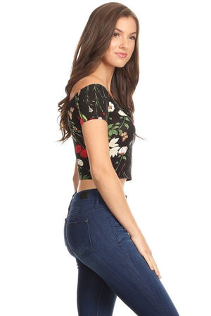 VIOLET HILL FLORAL CROP TOP