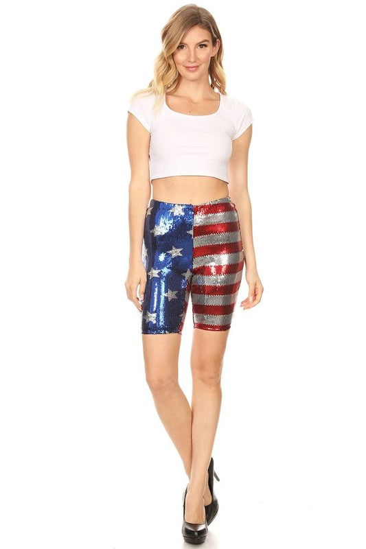 4TH OF JULY SEQUIN BIKER SHORTS