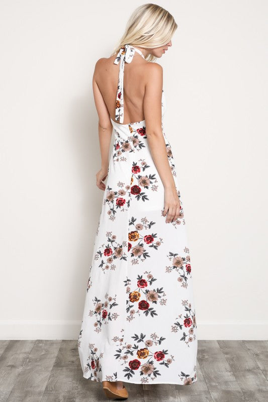 LENA FLORAL MAXI DRESS WHT