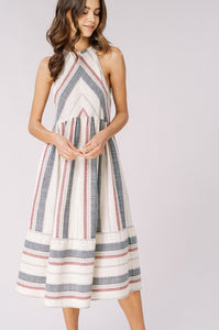 SIENA STRIPED MIDI DRESS