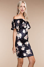 GARDEN FLORAL VELVET BODYCON DRESS