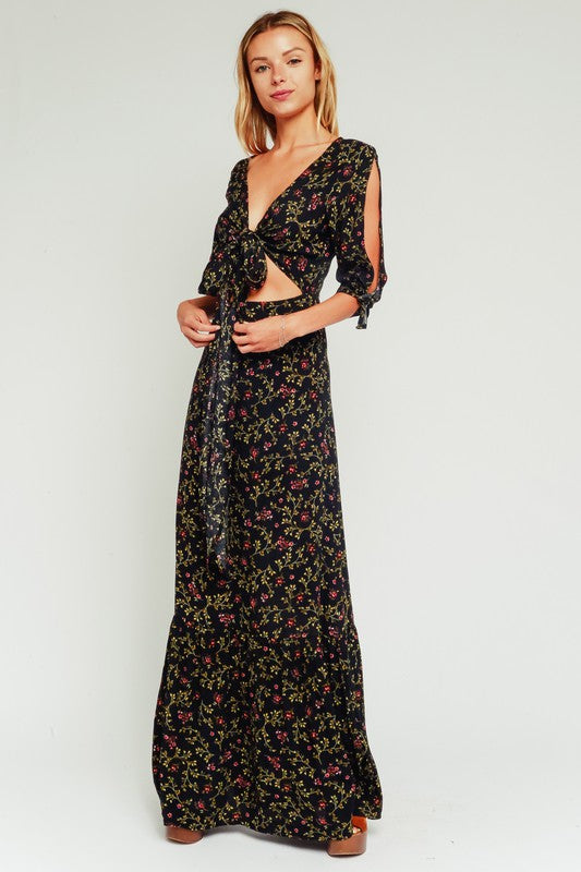 ARIES FLORAL CUTOUT MAXI DRESS