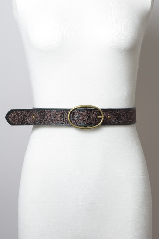 PIPPA EMBROIDERED BELT BLK