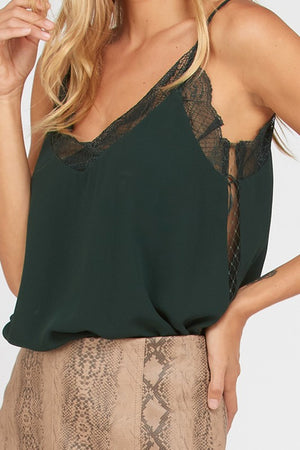 LOUISE LACE TRIM CAMI HUNTER GREEN-