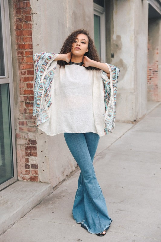 SELMA EMBROIDERED PONCHO IVORY