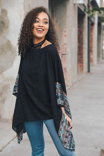 SELMA EMBROIDERED PONCHO BLK