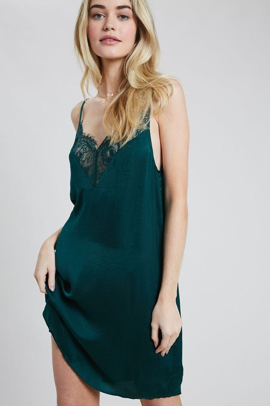 DESERT DAZE LACE SLIP DRESS GREEN