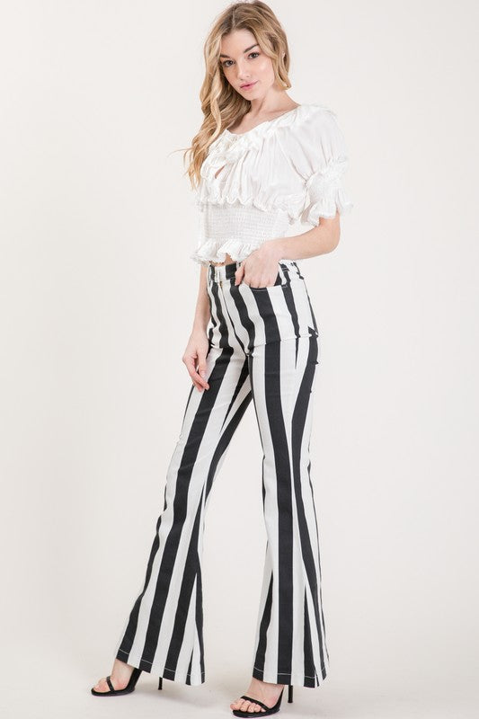 FLOAT ON STRIPE DENIM FLARES