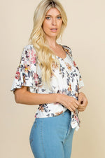 DOMINO FLORAL CROP TOP