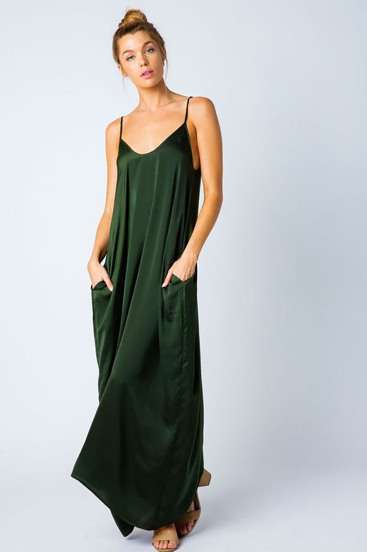 SATIN GRACE SOLID MAXI DRESS OLIVE