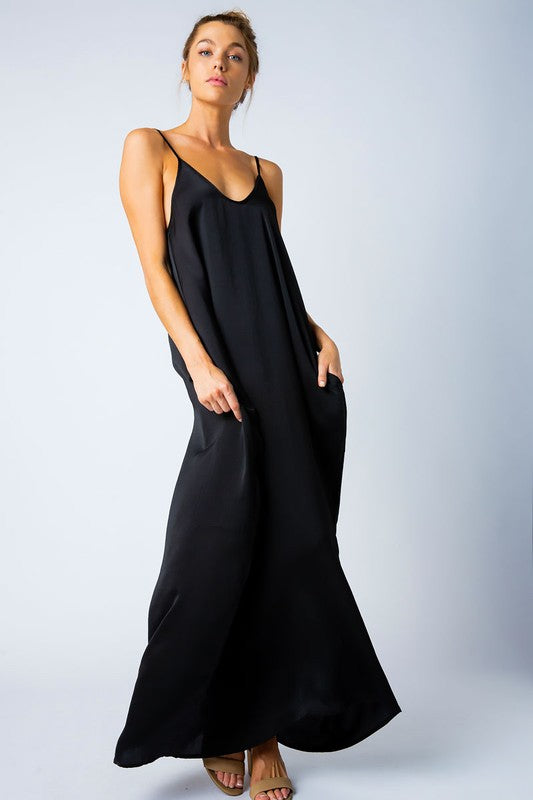 SATIN GRACE SOLID MAXI DRESS BLACK