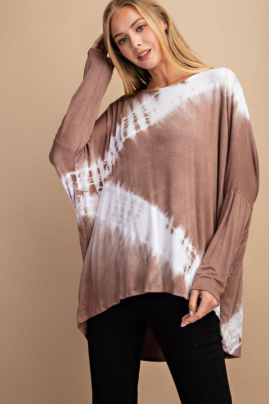 COSMO TIE DYE TOP TAUPE
