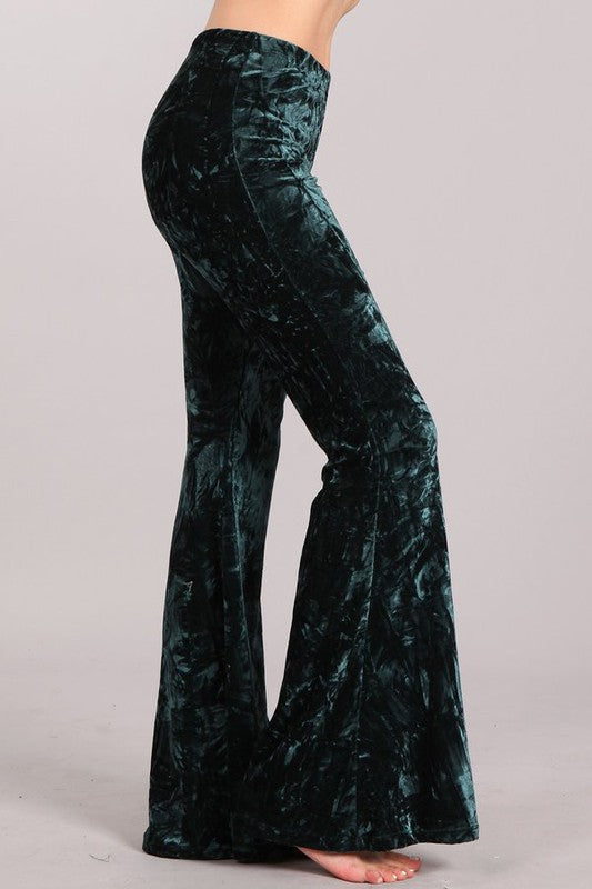 EVERGREEN CRUSHED VELVET PANTS