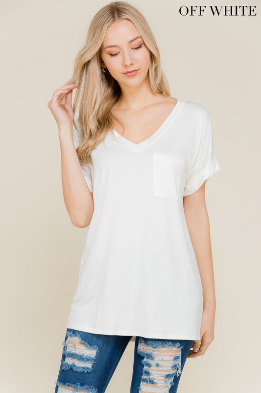 DARIA V NECK TEE OFF WHITE