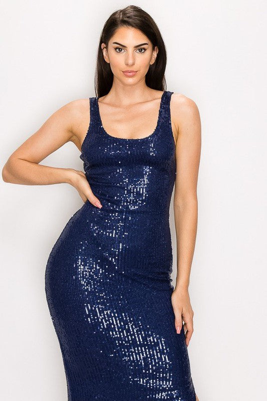 GLAMOUR SEQUIN MIDI DRESS