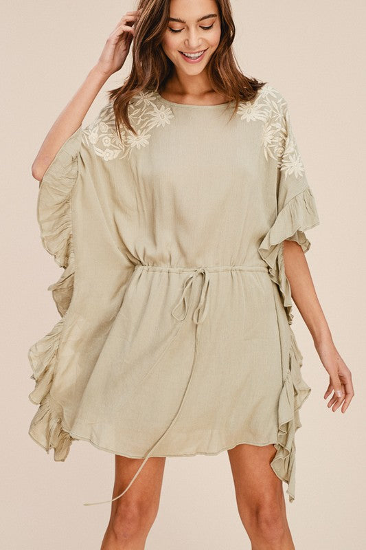 BAILEY EMBROIDERED RUFFLE DRESS