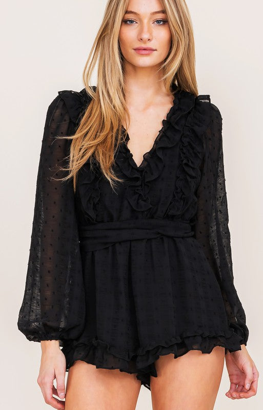 ALL NIGHTER RUFFLE ROMPER