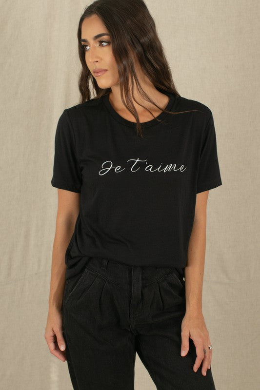 JE T'AIME BLACK GRAPHIC TEE