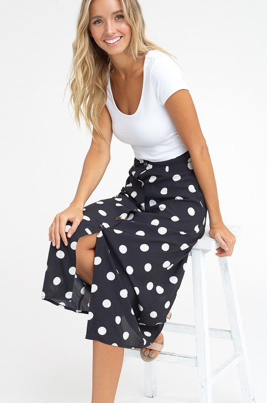 FRENCHIE POLKA DOT MIDI SKIRT