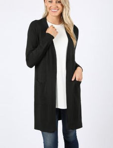 BERRY SOLID CARDIGAN BLACK