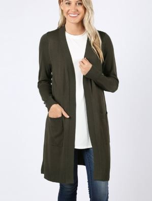 BERRY SOLID CARDIGAN OLIVE