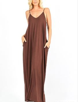 GRACE SOLID MAXI DRESS BROWN