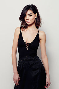FREE PEOPLE CRISS CROSS CAMI BLACK-