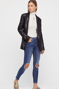 FREE PEOPLE DISTRESSED DENIM BLUE-