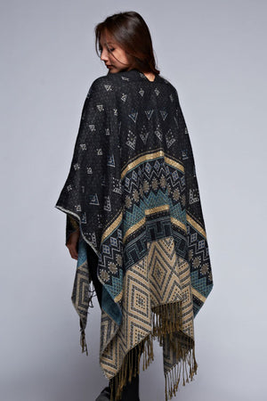 ZION REVERSIBLE PONCHO BLACK-
