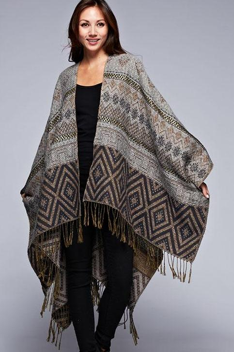 ZION REVERSIBLE PONCHO CREAM-