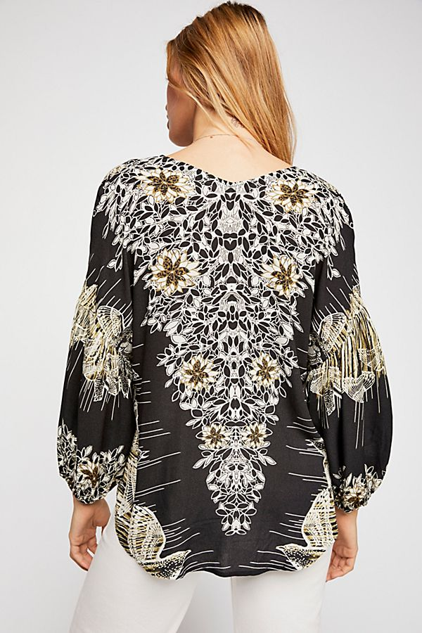 FREE PEOPLE FEATHER PRINTED TOP-