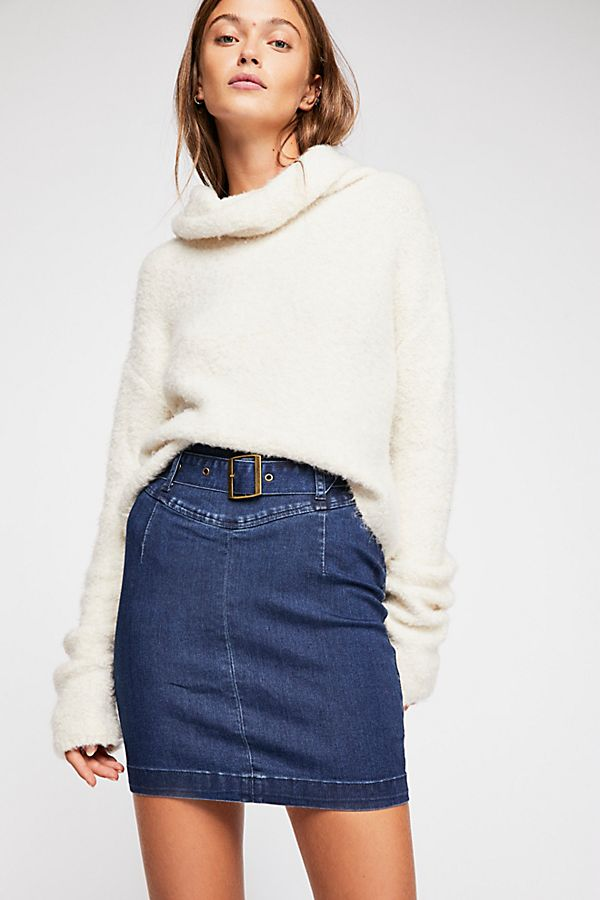 FREE PEOPLE DENIM SKIRT BLUE