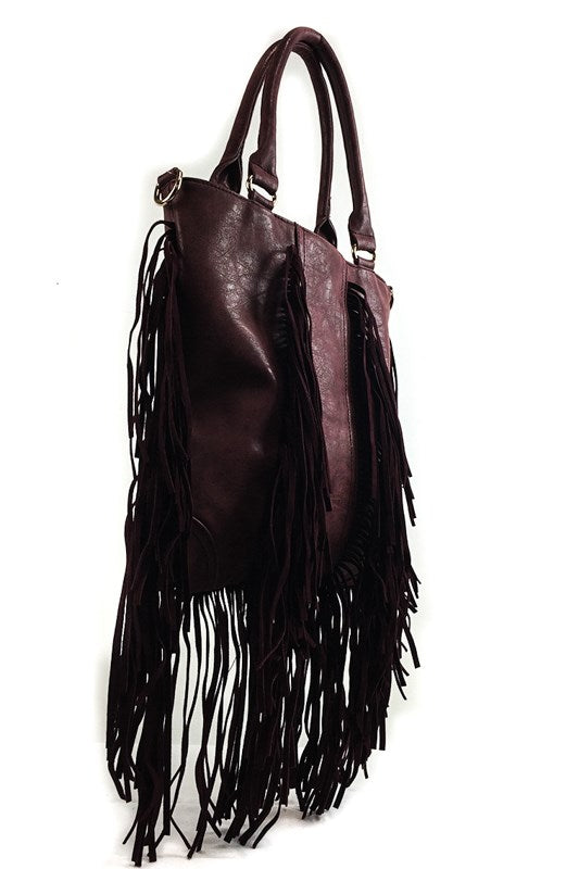 CLARA FRINGE BAG BROWN