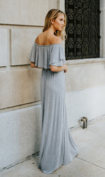 OFF SHOULDER MAXI DRESS GREY-