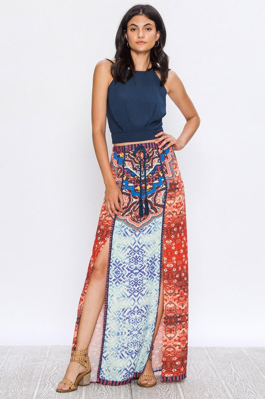 SPELLBOUND PRINTED MAXI SKIRT