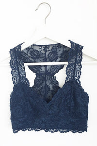 OASIS LACE RACERBACK BRALETTE BLACK/NAVY/WHITE