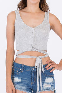 TOSS UP WRAP CROP TOP GREY