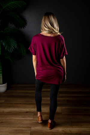 DARIA V NECK BURGUNDY