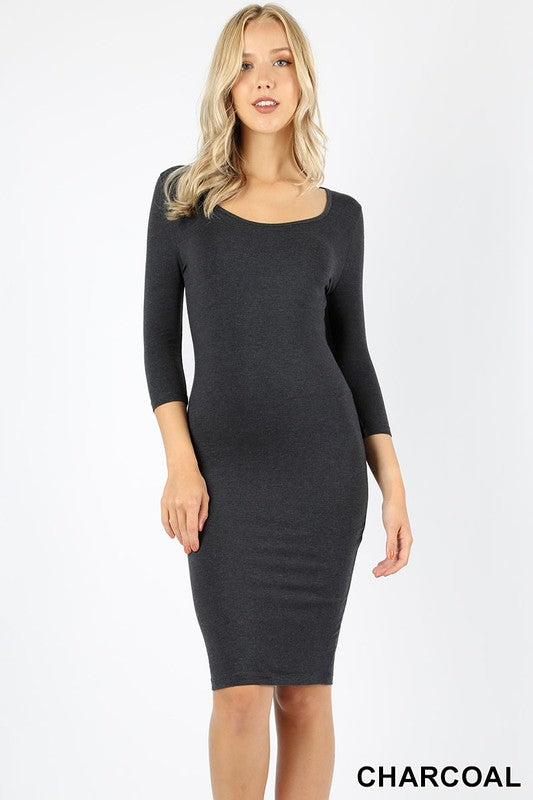 CORA MIDI BODYCON DRESS GREY-