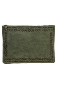 EVERLY STITCHED CLUTCH OLIVE