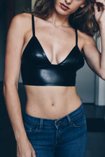 QUINN VEGAN LEATHER BRA-