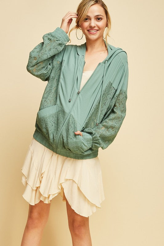 FLORA LACE JACKET GREEN-