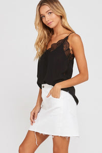 LOUISE LACE TRIM CAMI BLACK