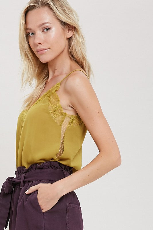 LOUISE LACE TRIM CAMI MUSTARD