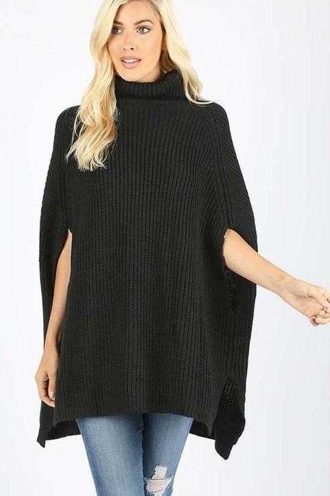 KARLEEN TURTLENECK PONCHO BLACK