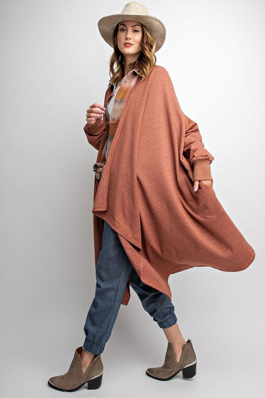 ALEX MAXI CARDIGAN RUST*