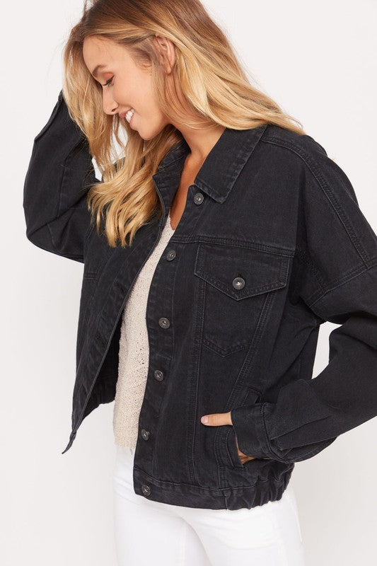 MIRA DENIM JACKET BLACK