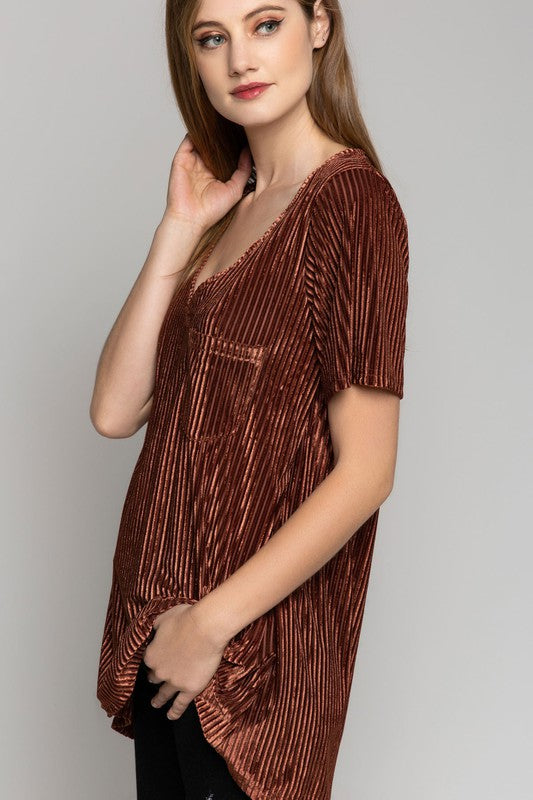 ADELLE VELVET TUNIC COPPER